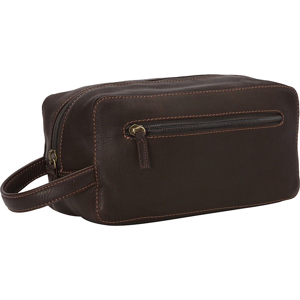 Derek Alexander Single Top Zip Travel Case Brown Derek Alexander Toiletry Kits