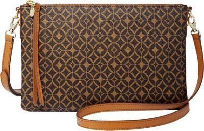 Fossil Sydney Signature Top Zip Crossbody Multi Brown - Fossil Manmade Handbags