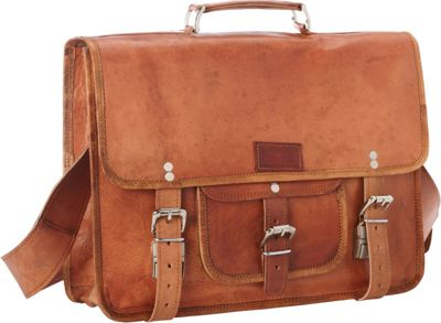 Sharo Leather Bags Leather Messenger and Brief Bag Brown - Sharo Leather Bags Non-Wheeled Business Cases