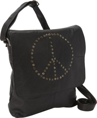 Sharo Leather Bags Peace Messenger Bag Black - Sharo Leather Bags Leather Handbags