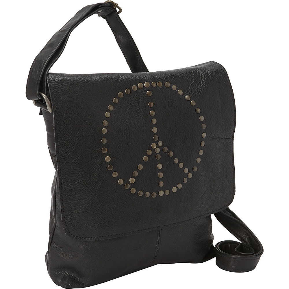 Sharo Leather Bags Peace Messenger Bag Black Sharo Leather Bags Leather Handbags