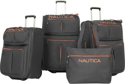 Nautica Maritime II Four Piece Luggage Set Grey/Orange - Nautica Luggage Sets