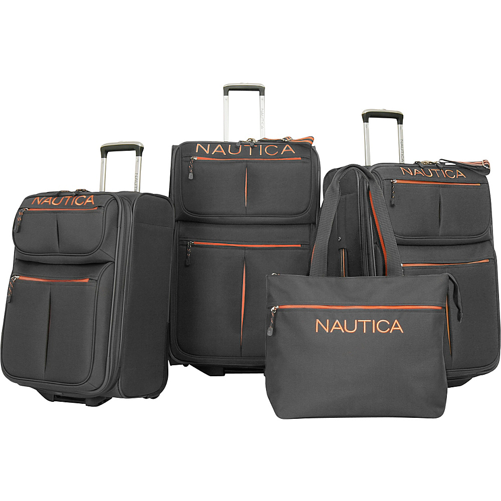 Nautica Maritime II Four Piece Luggage Set Grey Orange Nautica Luggage Sets