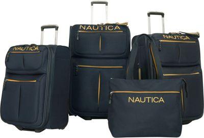Nautica Maritime II Four Piece Luggage Set Navy/Yellow - Nautica Luggage Sets