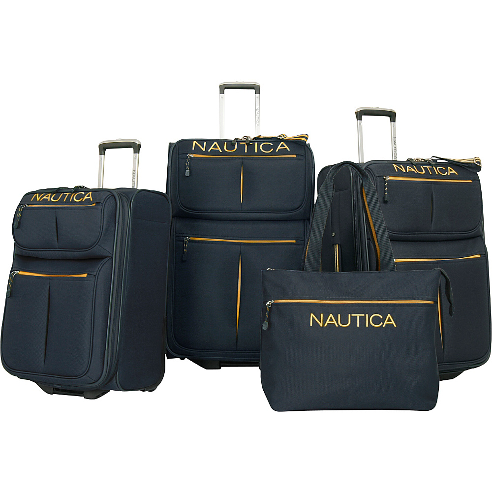 Nautica Maritime II Four Piece Luggage Set Navy/Yellow - Nautica Luggage Sets