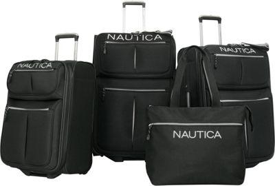 Nautica Maritime II Four Piece Luggage Set Black/Silver - Nautica Luggage Sets