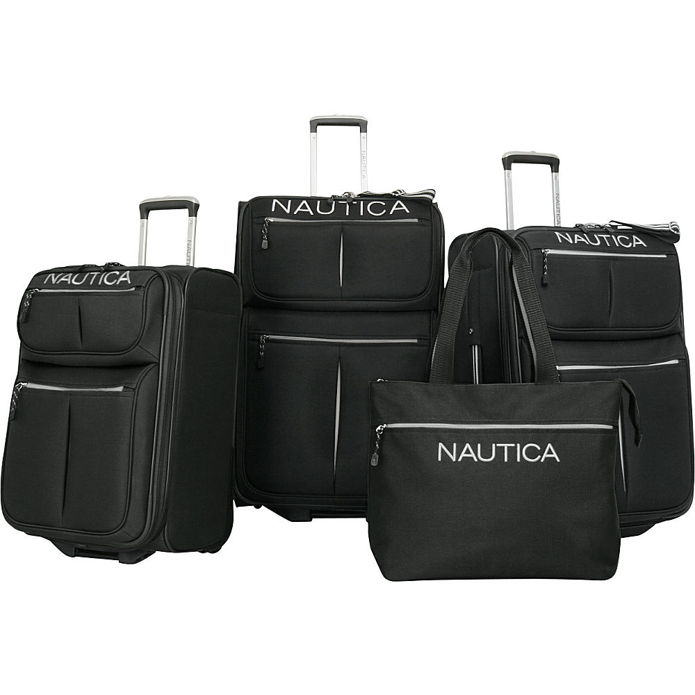 Nautica Maritime II Four Piece Luggage Set Black/Silver - Nautica Luggage Sets