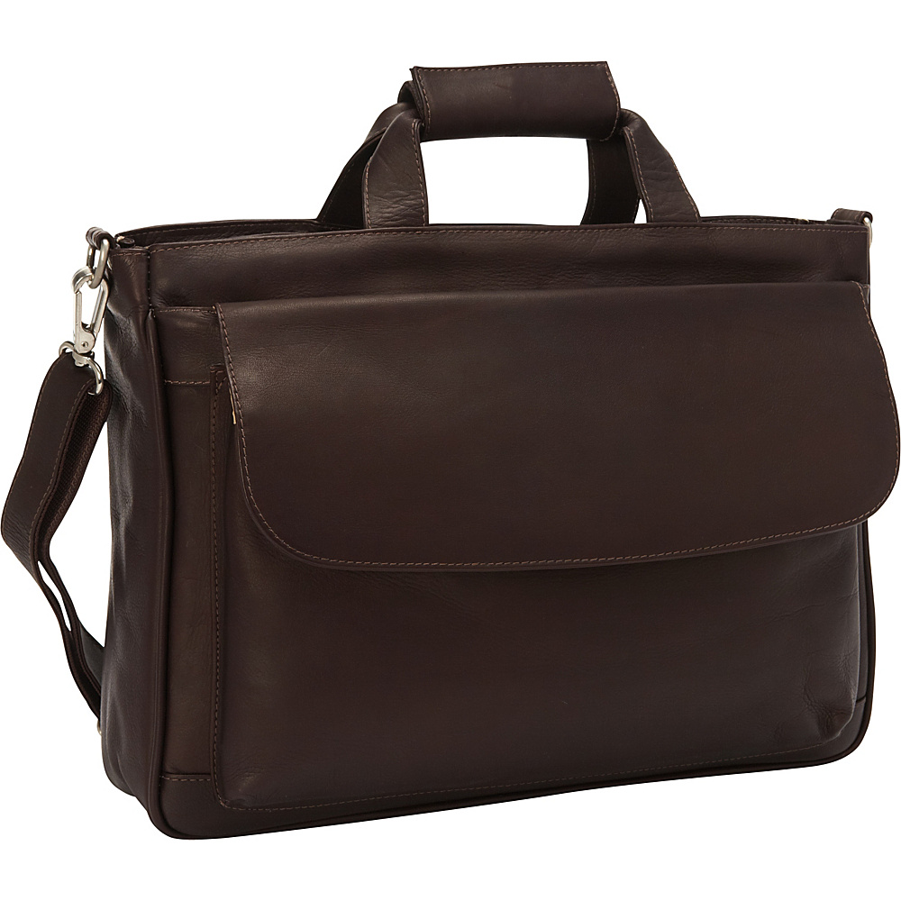 Piel Top-Zip Brief Tote Chocolate - Piel Non-Wheeled Business Cases - Work Bags & Briefcases, Non-Wheeled Business Cases