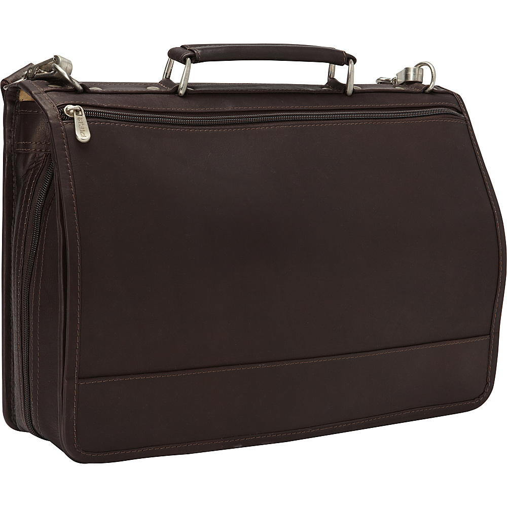 Piel Two-Section Expandable Laptop Portfolio Chocolate - Piel Non-Wheeled Business Cases - Work Bags & Briefcases, Non-Wheeled Business Cases