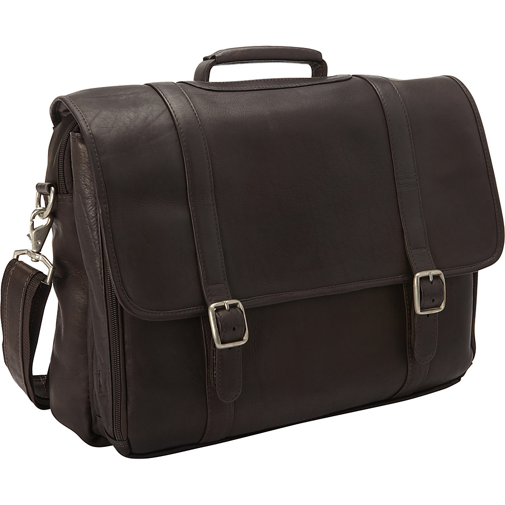 Clava Leather Gusset Laptop Briefcase Vachetta Cafe - Clava Non-Wheeled Business Cases