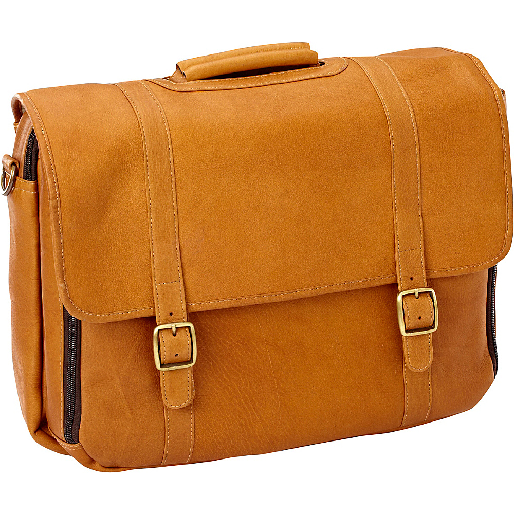 Clava Leather Gusset Laptop Briefcase Vachetta Tan - Clava Non-Wheeled Business Cases