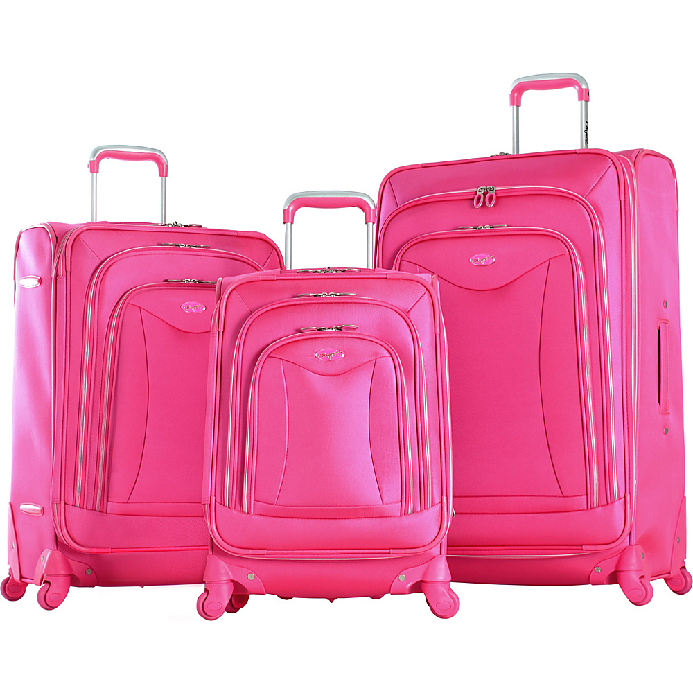 Olympia USA Olympia Luxe 3-Piece Luggage Set Hot Pink - Olympia USA Luggage Sets
