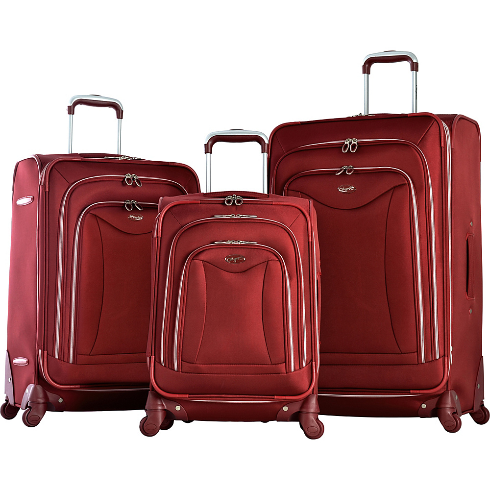 Olympia USA Olympia Luxe 3-Piece Luggage Set Burgundy - Olympia USA Luggage Sets