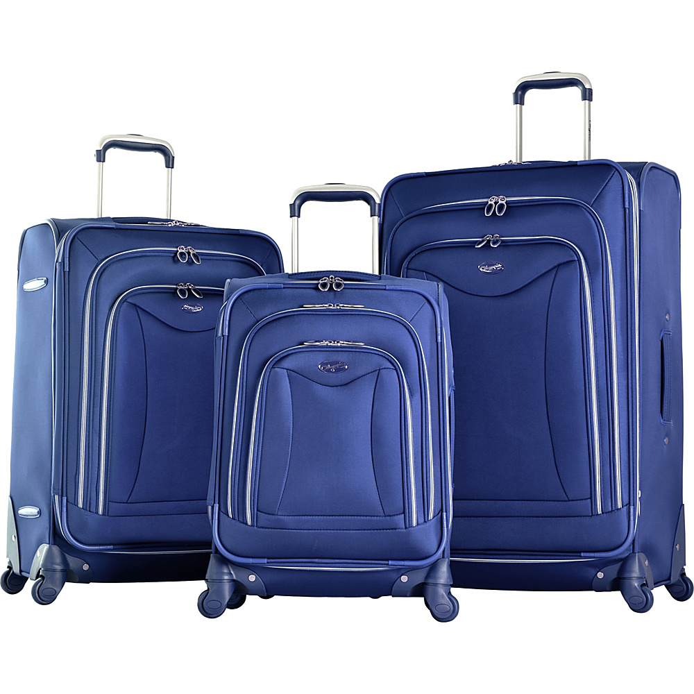 Olympia USA Olympia Luxe 3-Piece Luggage Set Navy - Olympia USA Luggage Sets