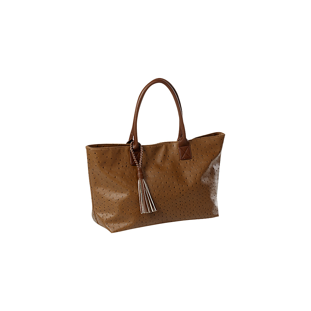 Clava Jemma Faux Ostrich Market Tote Taupe - Clava Manmade Handbags