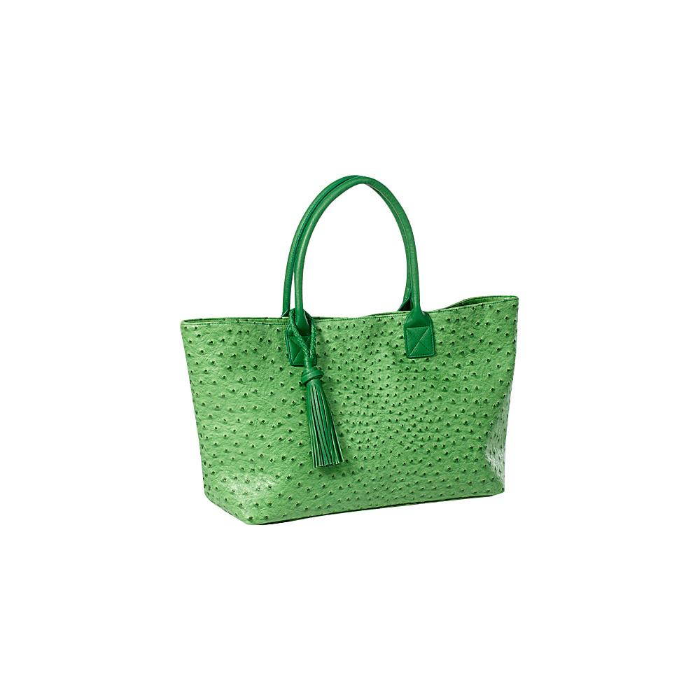 Clava Jemma Faux Ostrich Market Tote Green - Clava Manmade Handbags