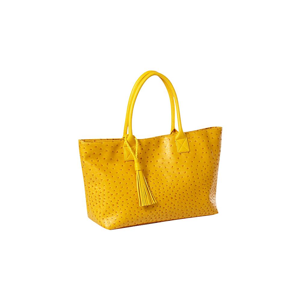 Clava Jemma Faux Ostrich Market Tote Yellow - Clava Manmade Handbags