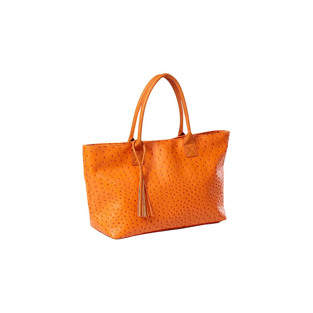 Clava Jemma Faux Ostrich Market Tote Orange - Clava Manmade Handbags