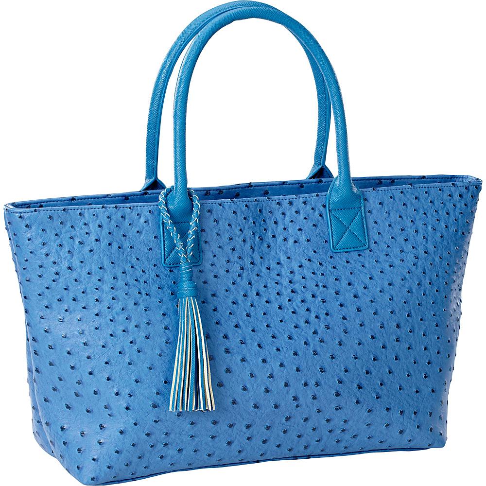 Clava Jemma Faux Ostrich Market Tote Blue - Clava Manmade Handbags