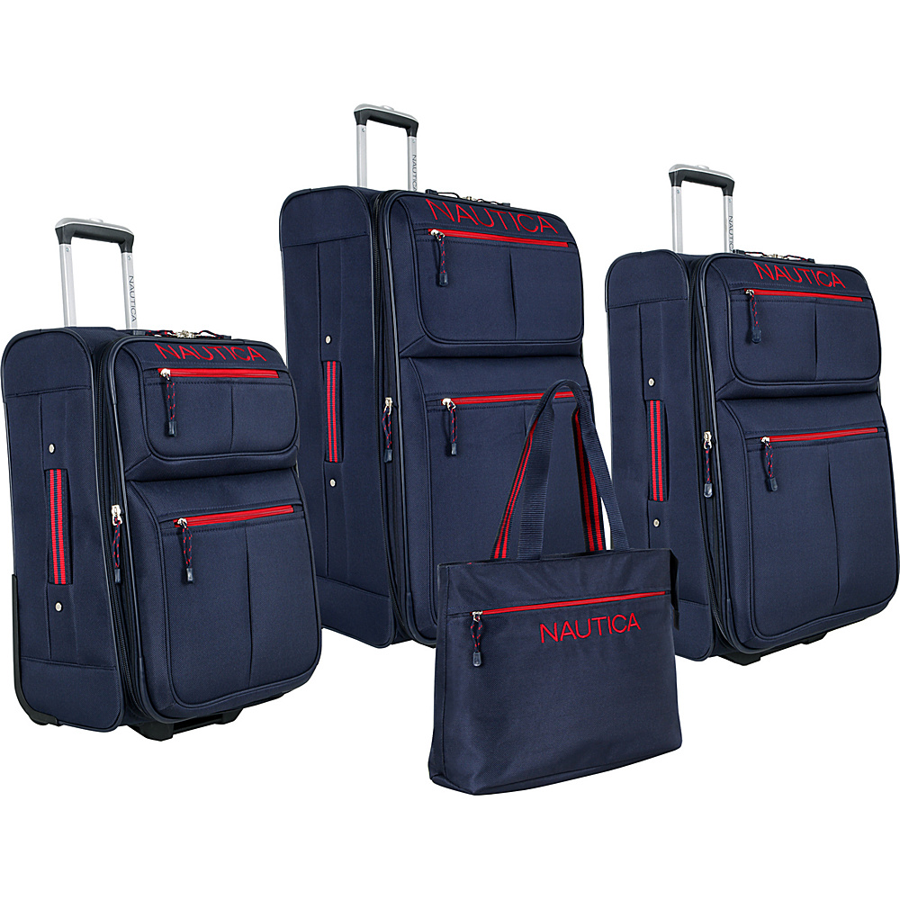 Nautica Maritime II 4 Pc Set Navy/Red - Nautica Luggage Sets