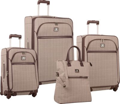 Image of Anne Klein Luggage Calgary Four Piece Set Brown/Cream/Dark Brown - Anne Klein Luggage Luggage Sets