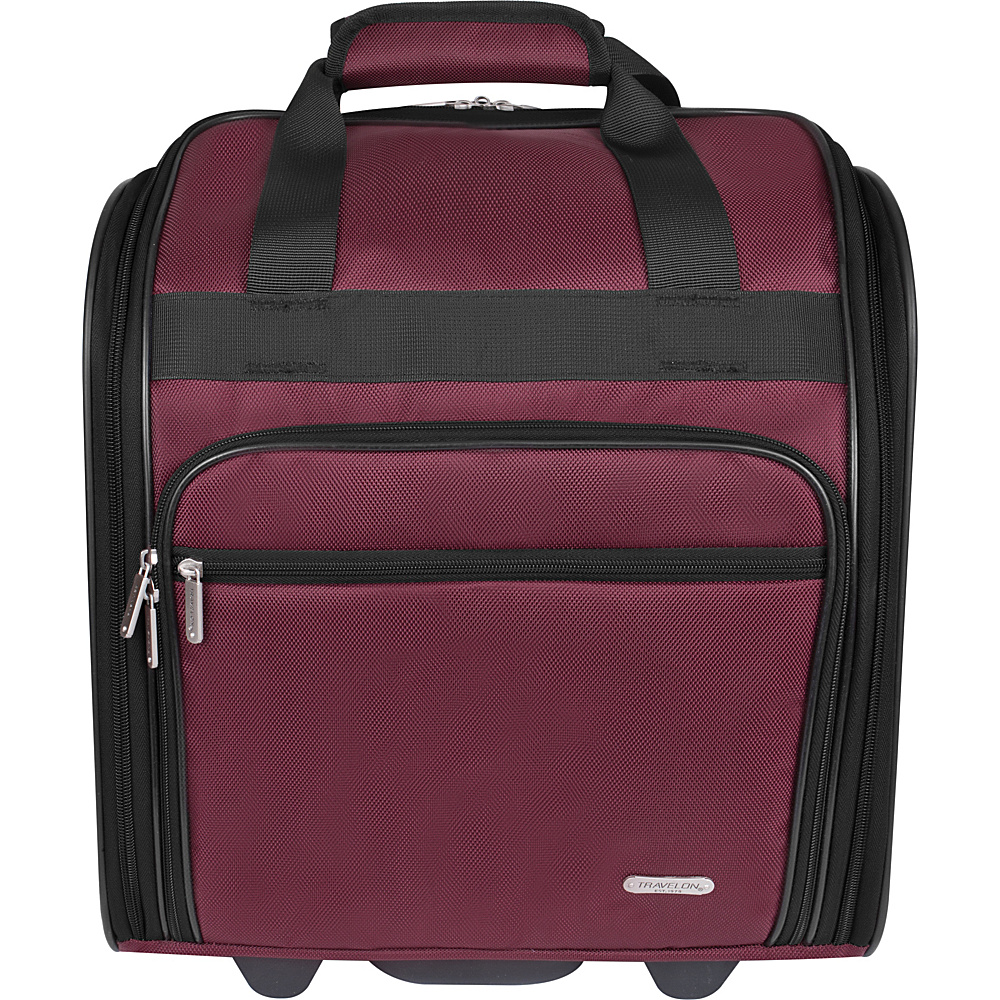 Travelon Wheeled Underseat Bag - 15 Burgundy - Exclusive Color - Travelon Softside Carry-On - Luggage, Softside Carry-On