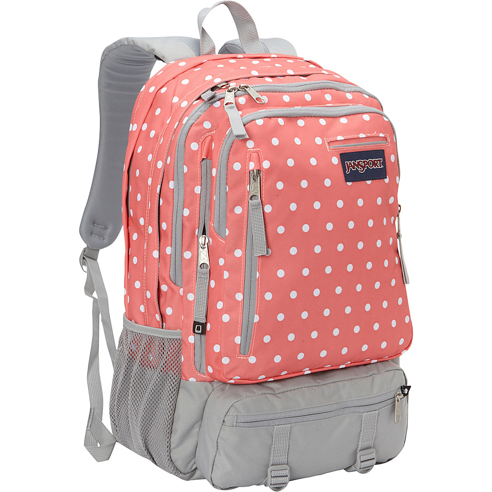 JanSport Envoy School Backpack Coral Sparkle / White Dots - JanSport Everyday Backpacks - Backpacks, Everyday Backpacks