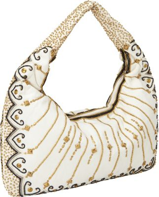 Moyna Handbags Beaded Hobo Ivory/Black - Moyna Handbags Fabric Handbags