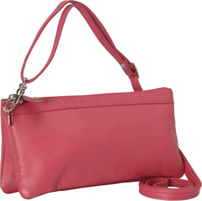 R & R Collections Cross Body with Top Zip Pocket Pink - R & R Collections Leather Handbags
