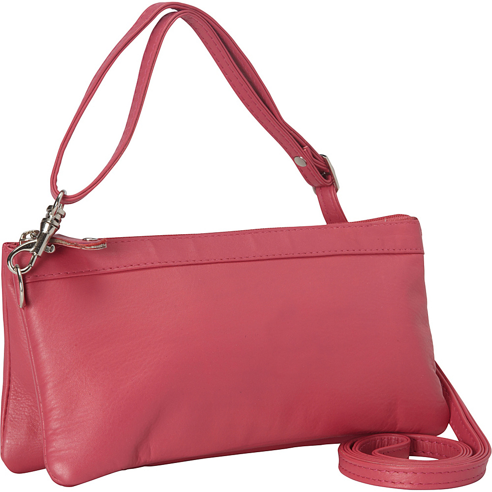 R R Collections Cross Body with Top Zip Pocket Pink R R Collections Leather Handbags
