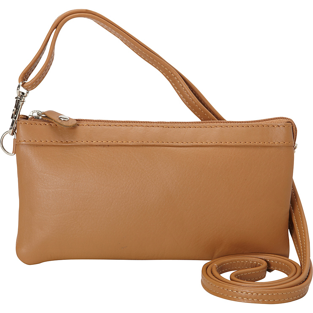 R R Collections Cross Body with Top Zip Pocket Camel R R Collections Leather Handbags