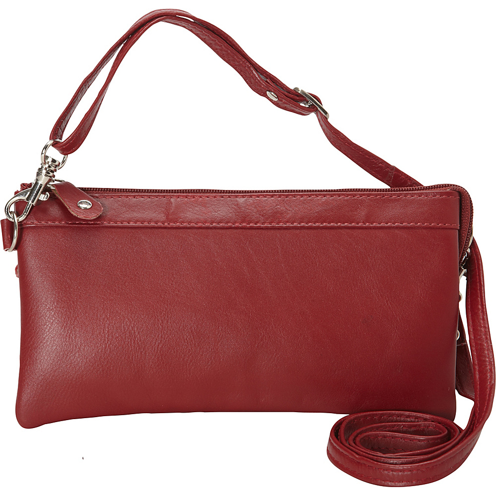 R R Collections Cross Body with Top Zip Pocket RED R R Collections Leather Handbags