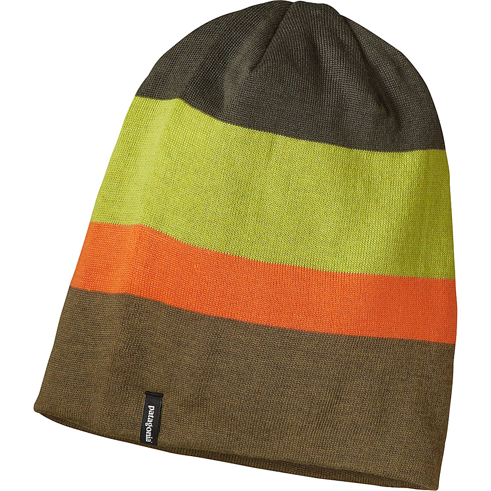 Patagonia Slopestyle Beanie Huck Stripe Fatigue Green Patagonia Hats Gloves Scarves