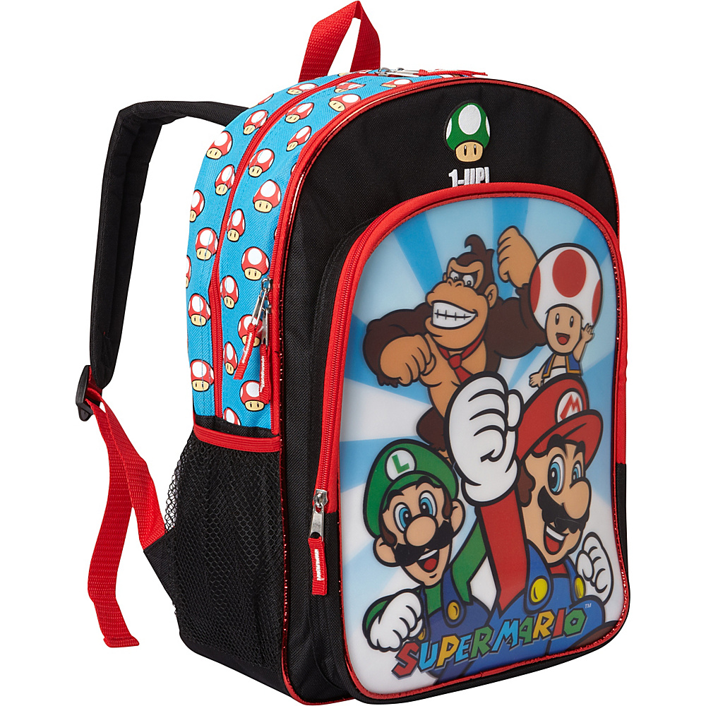 "Accessory Innovations Super Mario & Friends Lenticular 16"" Backpack Black - Accessory Innovations Everyday Backpacks"