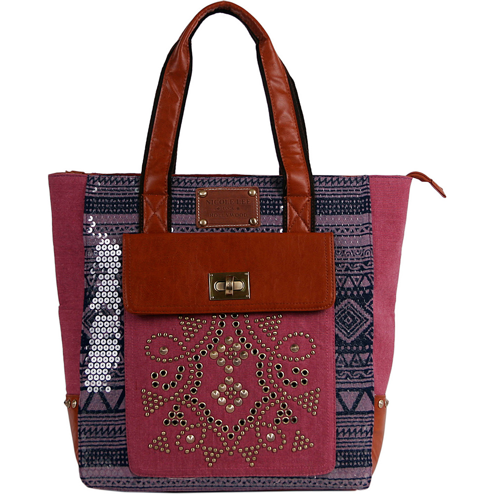 Nicole Lee Iyanna Tribal Canvas Sequenced Print Tote Bag Red Nicole Lee Manmade Handbags