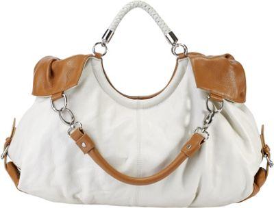 Vicenzo Leather Maselle Italian Leather Hobo White - Vicenzo Leather Leather Handbags
