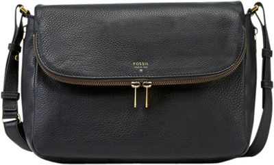 Fossil Preston Flap Crossbody Black - Fossil Leather Handbags