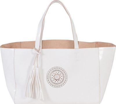 BUCO E/W Carriage Tote White/Sand - BUCO Manmade Handbags