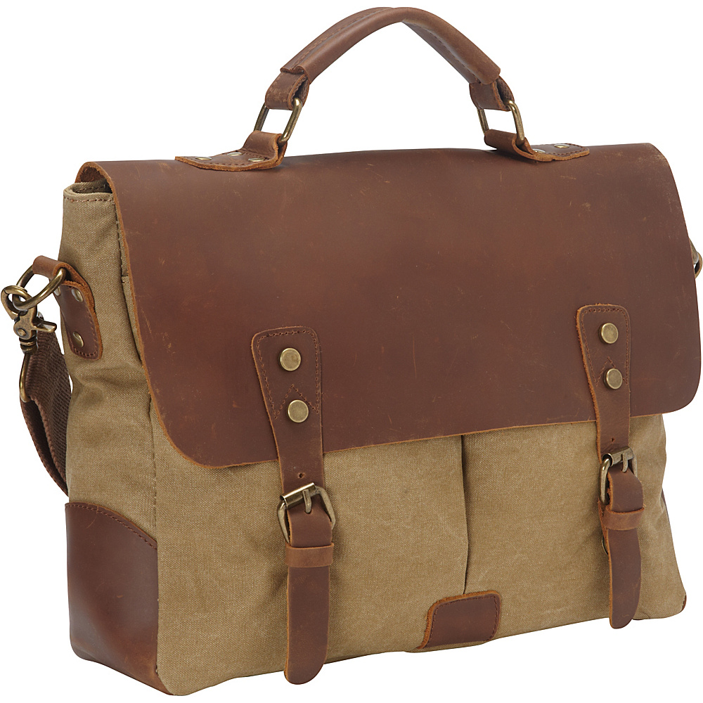 Vagabond Traveler Casual Style Cowhide Leather Cotton Canvas Messenger Bag Khaki - Vagabond Traveler Messenger Bags - Work Bags & Briefcases, Messenger Bags