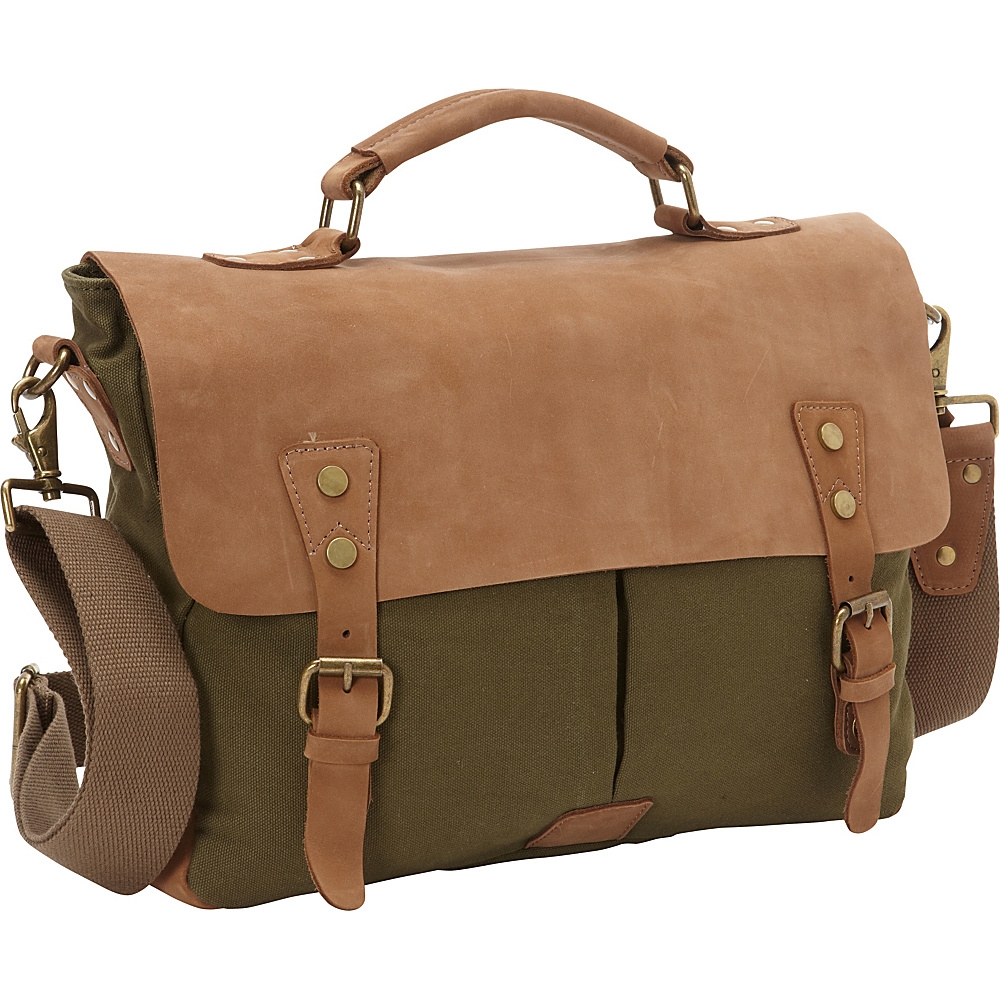 Vagabond Traveler Casual Style Cowhide Leather Cotton Canvas Messenger Bag Green - Vagabond Traveler Messenger Bags - Work Bags & Briefcases, Messenger Bags