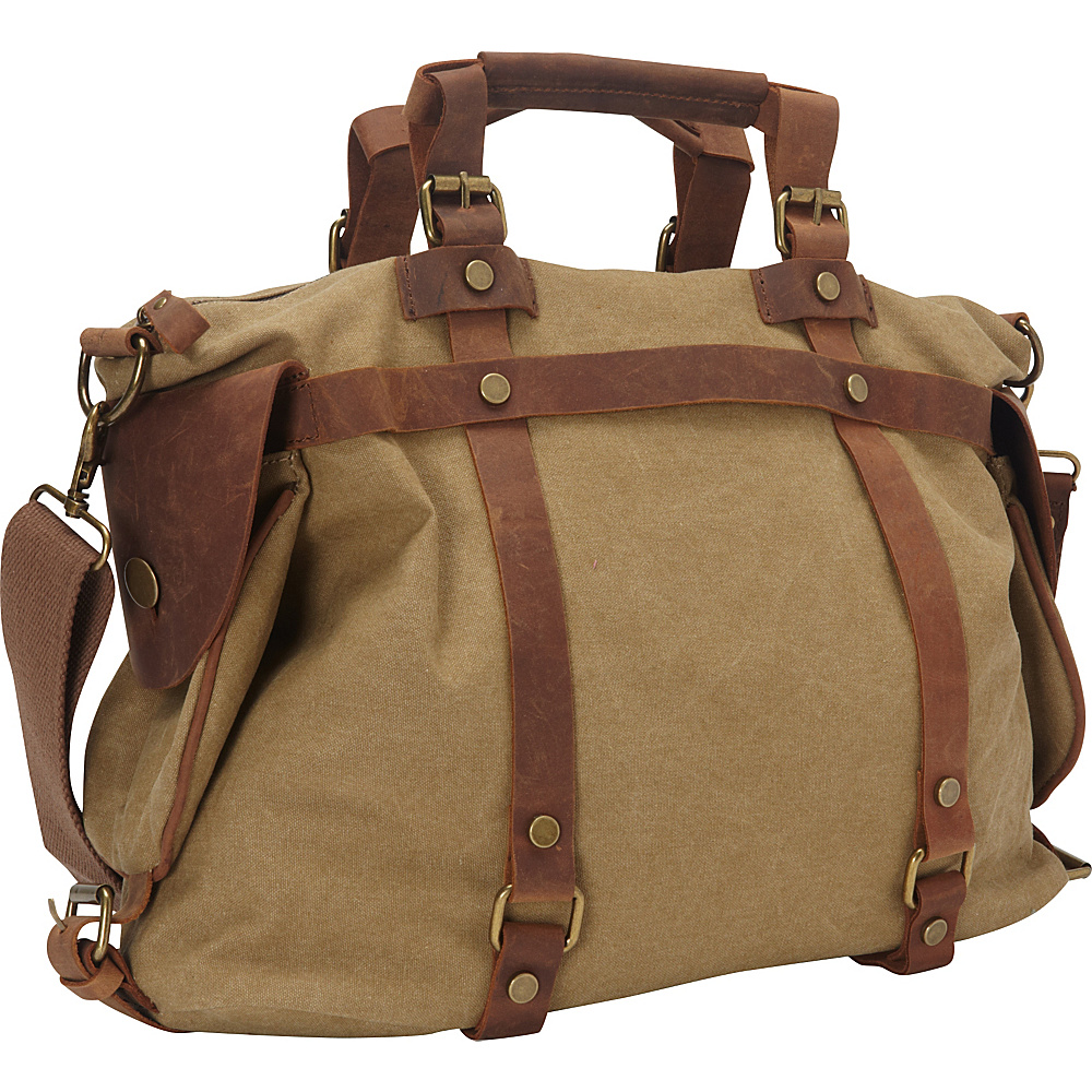 Vagabond Traveler Classic Antique Style Cowhide Leather Cotton Canvas Messenger Bag Khaki - Vagabond Traveler Messenger Bags - Work Bags & Briefcases, Messenger Bags
