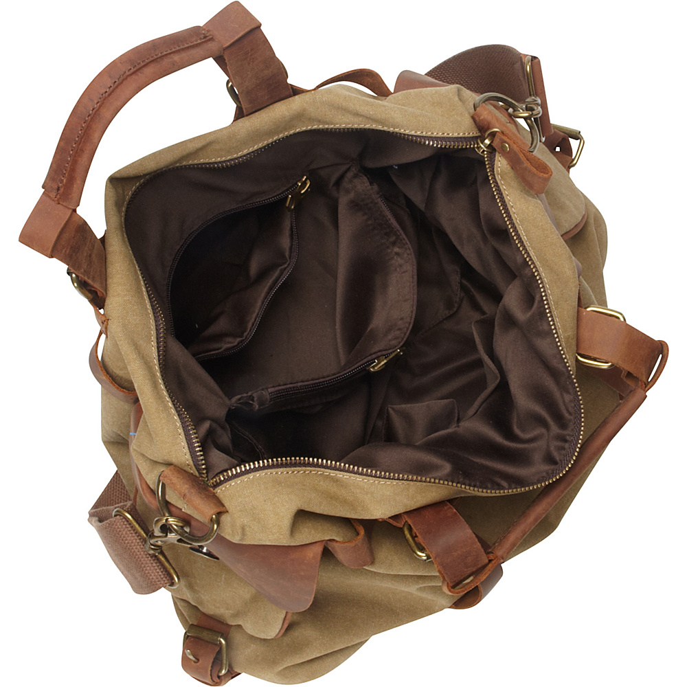 Vagabond Traveler Classic Antique Style Cowhide Leather Cotton Canvas Messenger Bag Military Green - Vagabond Traveler Messenger Bags