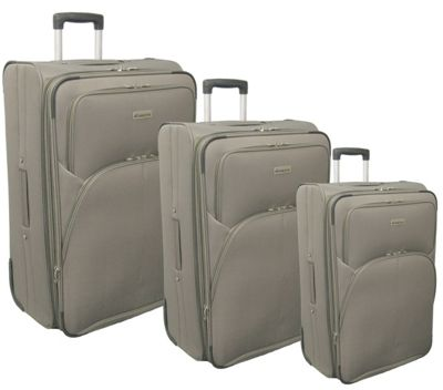 McBrine Luggage Eco Friendly 3 Piece Luggage Set with Inline Wheels Khaki - McBrine Luggage Luggage Sets