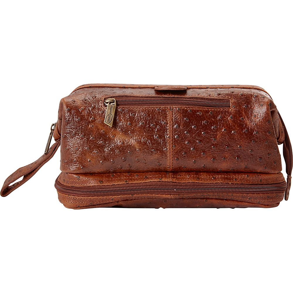 AmeriLeather Leather Toiletry Bag w/ Accessories - eBags EXCLUSIVE Brown Ostrich Print - AmeriLeather Toiletry Kits - Travel Accessories, Toiletry Kits