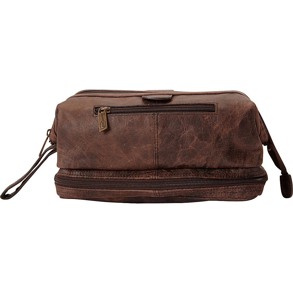 AmeriLeather Leather Toiletry Bag w/ Accessories - eBags EXCLUSIVE Distressed Dark Brown - AmeriLeather Toiletry Kits - Travel Accessories, Toiletry Kits