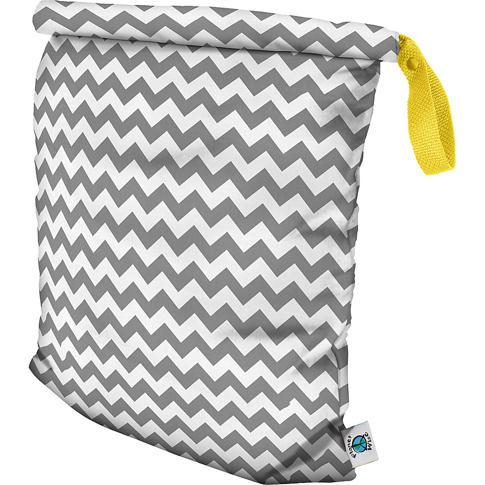 Planet Wise Large Roll Down Wet Bag Gray Chevron Planet Wise Diaper Bags Accessories