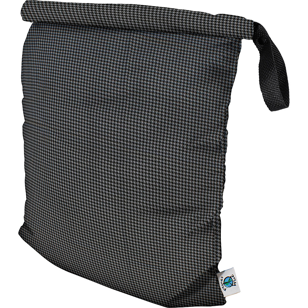 Planet Wise Large Roll-Down Wet Bag Gray Houndstooth - Planet Wise Diaper and Baby Accessories