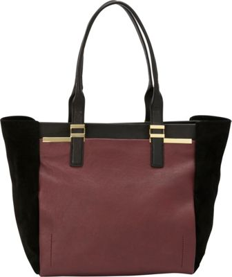 Vince Camuto Vera Tote Garnet/Black - Vince Camuto Designer Handbags