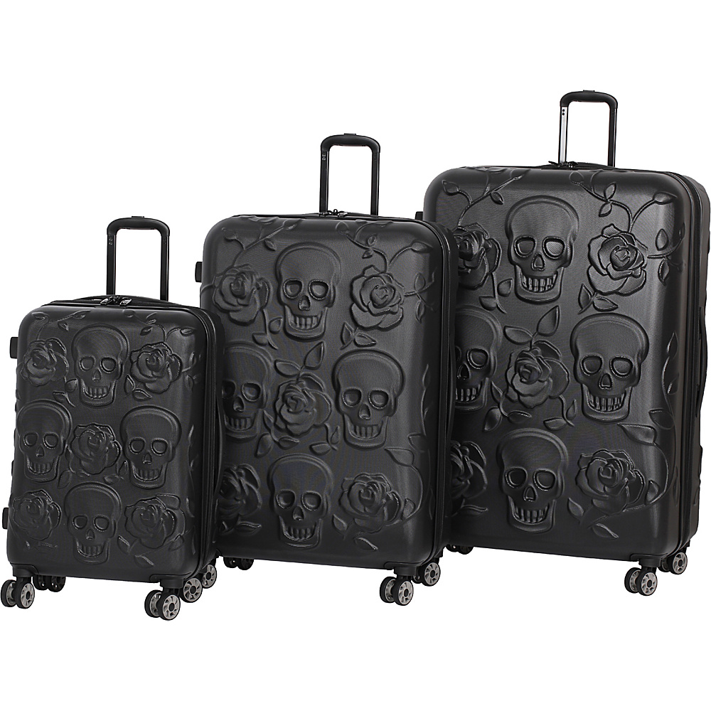 it luggage Skull Emboss 3 Piece Spinner Luggage Set Black it luggage Luggage Sets