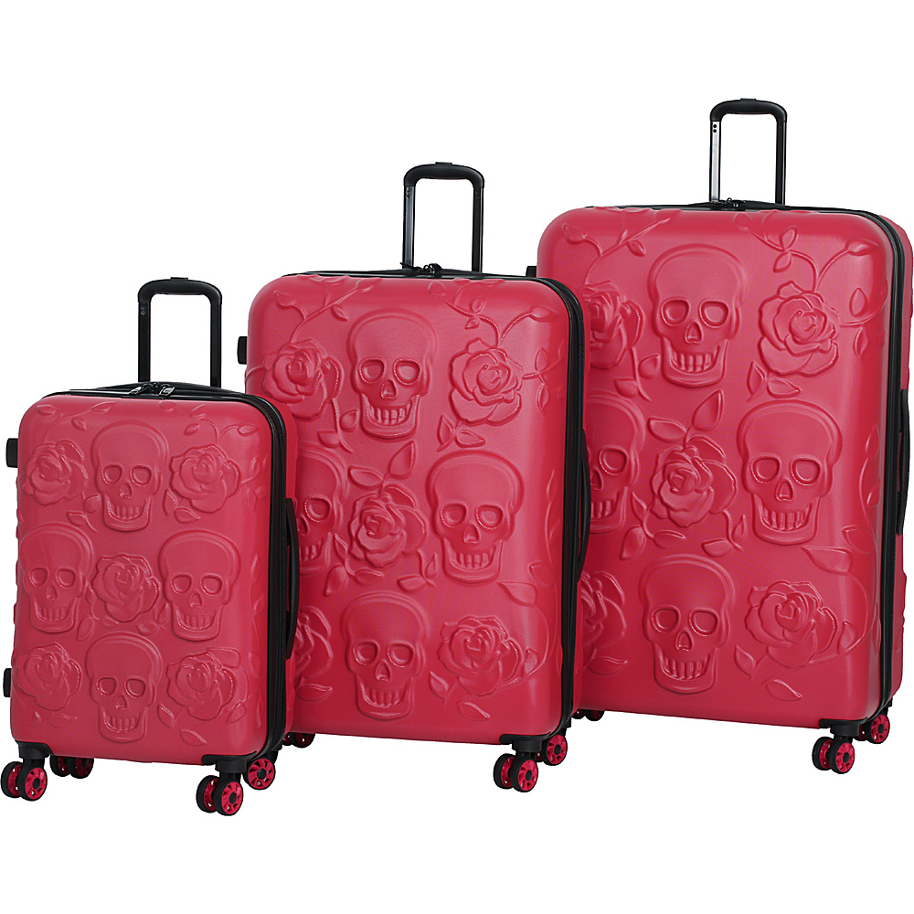 it luggage Skull Emboss 3 Piece Spinner Luggage Set Tango Red it luggage Luggage Sets
